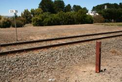 Single rail creep marker at the 128km post of the Warrnambool line