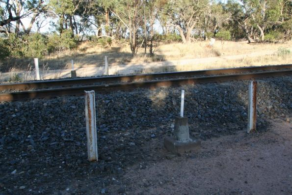 Rail creep monuments on the Western SG line outside Ararat