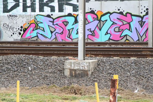 'Creep' marker on a stanchion on the Werribee line at Paisley