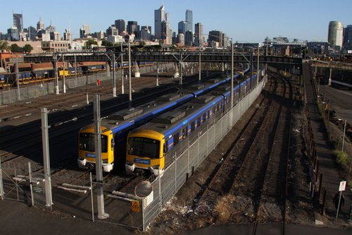 Pair of Siemens with Metro stickers stabled at Melbourne Yard