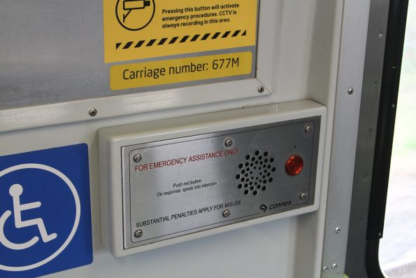 Connex branding exposed on the emergency intercom onboard Comeng 667M