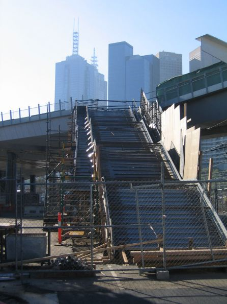Steps under construction to the western end of the William Barak Bridge