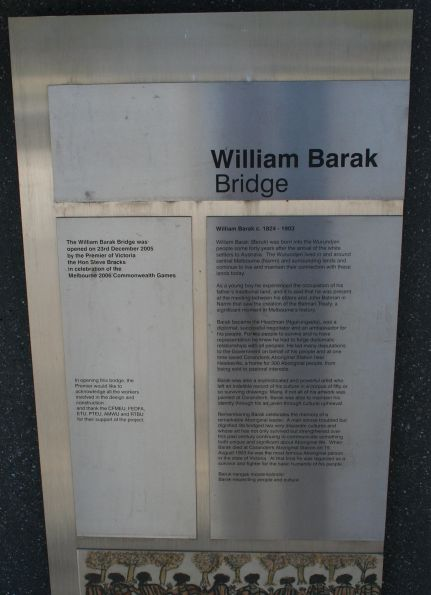 Plaque marking the 'official opening' of the William Barak Bridge on 23 December 2005