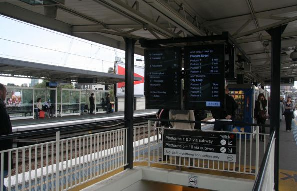 New LCD next train displays above the centre subway