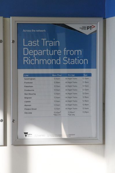 Poster listing last train departures from Richmond station