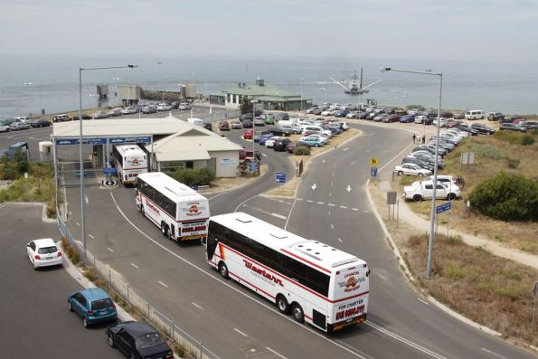 Trio of Western Coach Services buses queue to board the Searoad ferry at Queenscliff