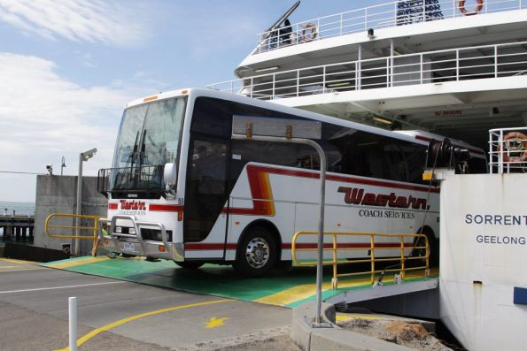 Unloading buses from car ferry MV Sorrento at the Sorrento terminal