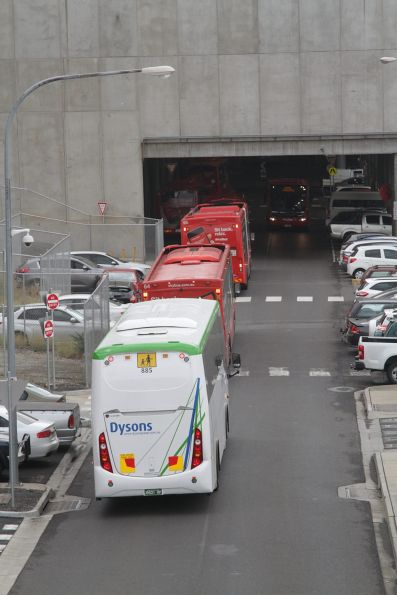 Queue of buses arriving at the Southern Cross Station coach terminal