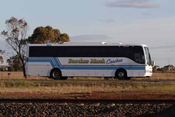Bacchus Marsh Coaches coach parallels the railway line at Parwan