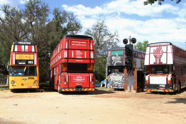 Double deck buses owned by the Goldernhope Foundation in Chewton