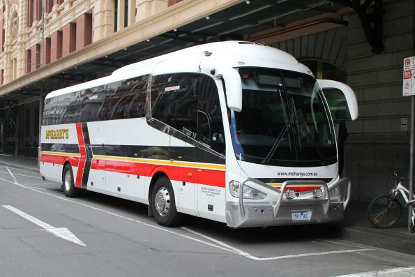 McHarry's road coach 1501AO outside Flinders Street Station