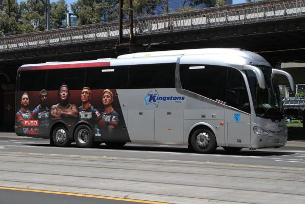 Kingstons Tours coach BS00RJ promoting the Melbourne Rebels rugby union team