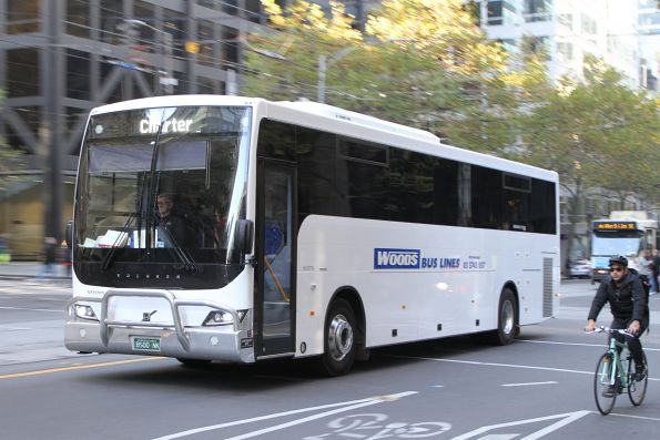 Woods Bus Lines coach BS00NK at William and Bourke Street
