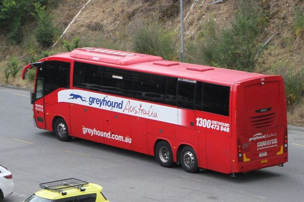 Greyhound Australia road coach 352DOG departs Southern Cross Station bound for Sydney
