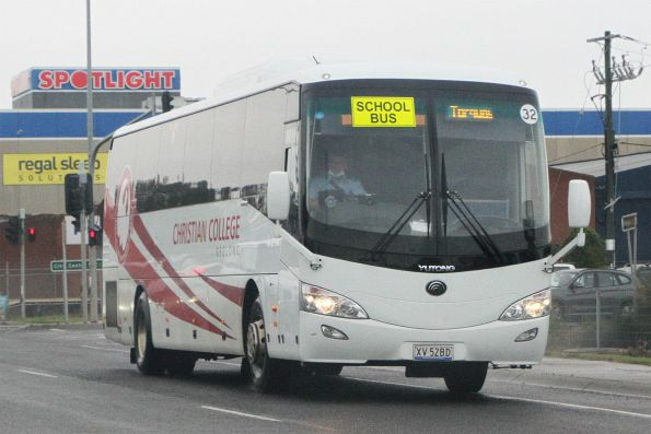 Christian College Geelong coach XV52BD on Breakwater Road, Belmont