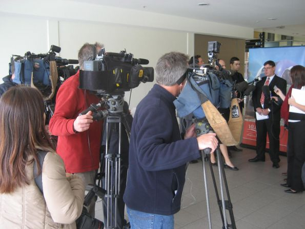 Media circus at Flinders Street - Connex spokesman speaking