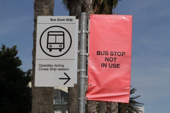 Bus zone beside the route 109 terminus at Port Melbourne, for cruise ship shuttles