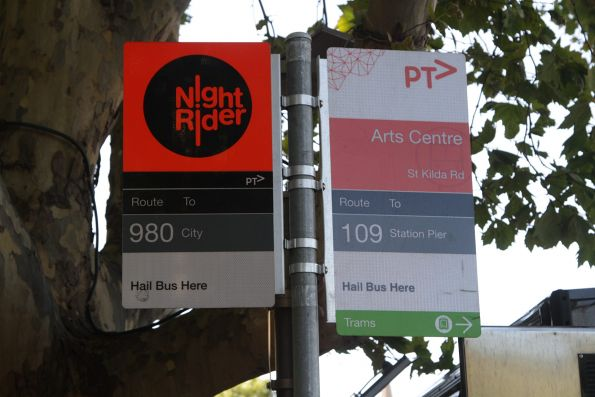 'Route 109' bus stop at the Arts Centre on St Kilda Road