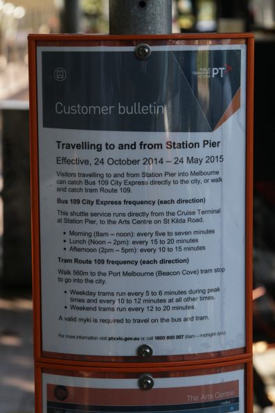 Customer notice at the Arts Centre for the 'route 109' express bus
