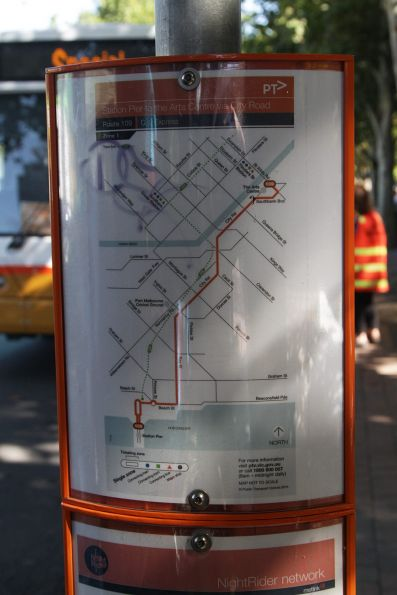 Route map at the Arts Centre for the 'route 109' express bus