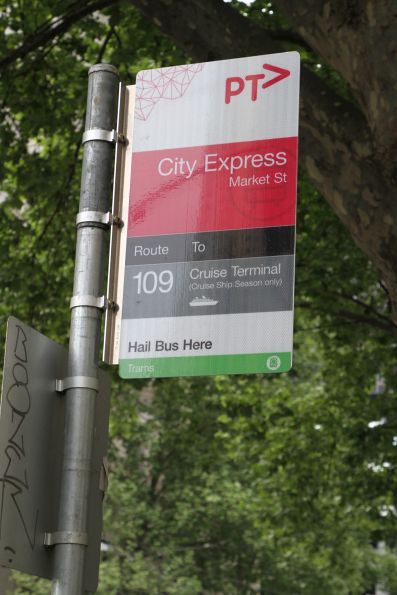 Bus stop for the route 109 'City Express' bus from Station Pier at Market Street