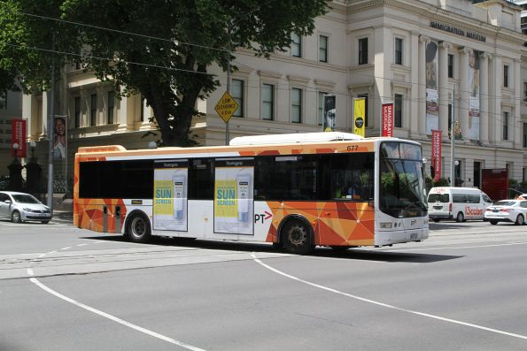 Ventura bus #677 8843AO heads south at William and Flinders Street with a route 109 cruise ship shuttle
