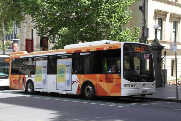 Ventura bus #677 8843AO at Market Street and Flinders Lane with a route 109 cruise ship shuttle