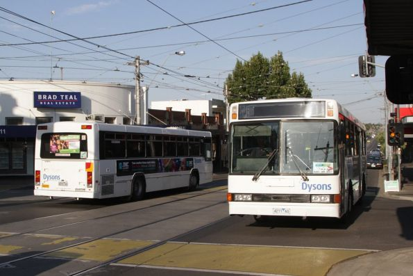 Dysons buses 4271AO and 4272AO on route 82 replacement service pass at Maribyrnong and Union Roads