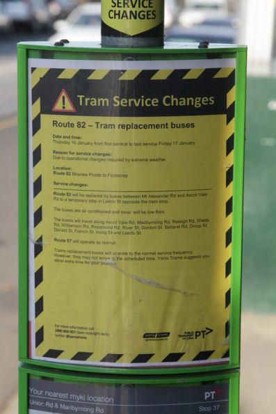 Notice of the replacement of route 82 trams with buses due to extreme heat