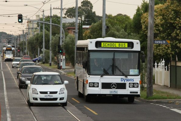 Dysons rego 0913AO heads east on Maribyrnong Road with a route 82 replacement service