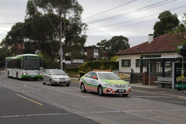Yarra Trams operations car leads a route 82 replacement bus