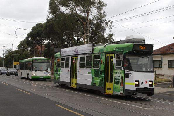 Z3.174 on a route 57 service along Maribyrnong Road is tailed by a Dysons bus on a route 82 replacement service