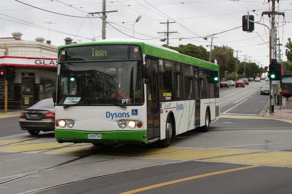 Another day of bus replacements on route 82, this time Dysons bus #149 rego 4300AO westbound at Union and Maribyrnong Roads