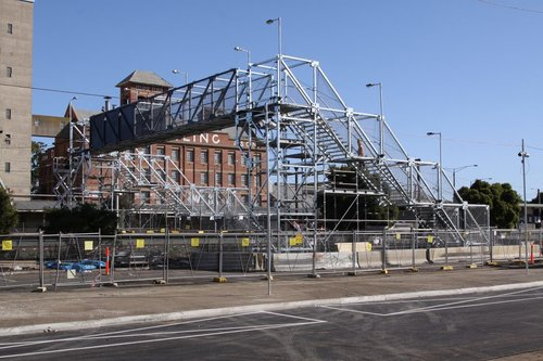 Temporary footbridge at Albion, the bus interchange in the foreground