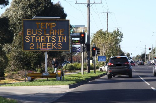 'Temp bus lane starts in 2 weeks' sign eastbound on Ballarat Road at Sunshine