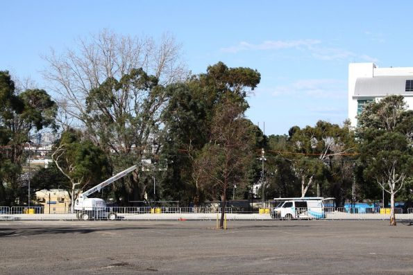 Work continues on the bus interchange at Flemington Racecourse