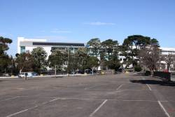 VIP car park at Flemington Racecourse, taken over as a bus interchange