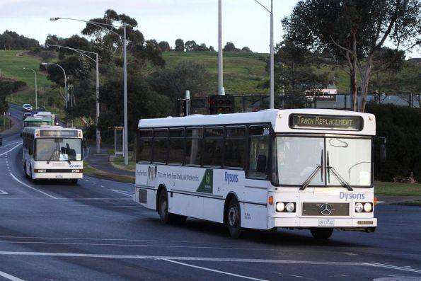 Pack of four buses on Farnsworth Avenue bound for Flemington Racecourse