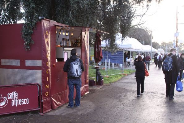 Coffee stall on the platform at Flemington Racecourse