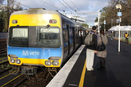 Comeng at Flemington Racecourse, ready to depart for the city