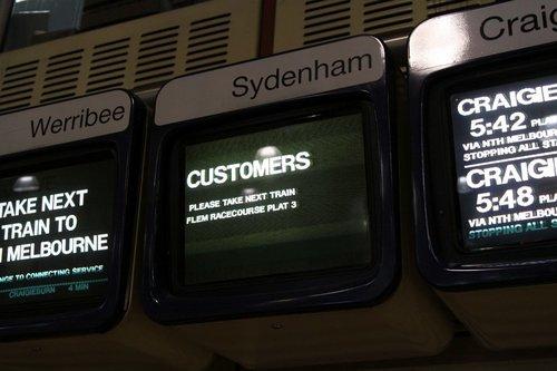 Sydenham line display at Flagstaff station - 'CUSTOMERS please take next train Flem Racecourse Plat 3'