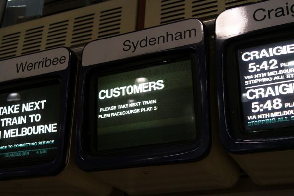 Sydenham line display at Flagstaff station - 'CUSTOMERS please take next train Flem Racecourse Plat 3'