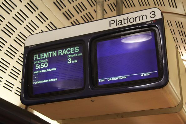 'Flemtn Races' train on the PRIDE display at Flagstaff station