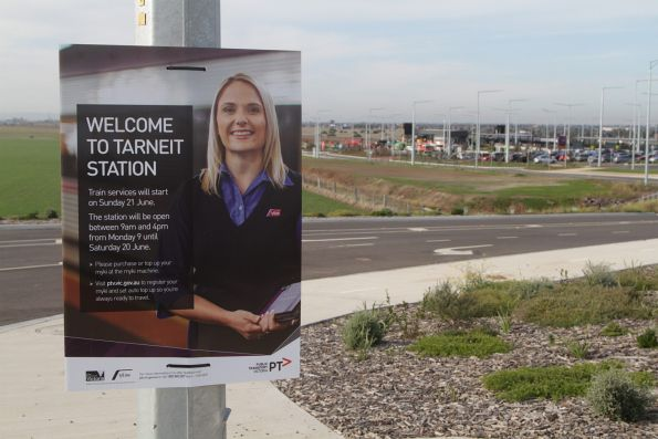 'Welcome to Tarneit Station' sign at the Derrimut Road entry