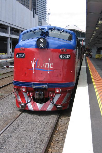 S302 awaiting departure on the last down run to Warrnambool with V/Line