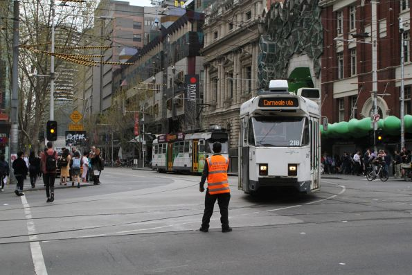 Z3.218 turns from Swanston into La Trobe Street on a diverted route 67 service