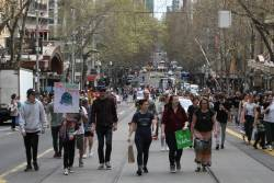 March heads east along Collins Street, trams unable to continue past Swanston Street