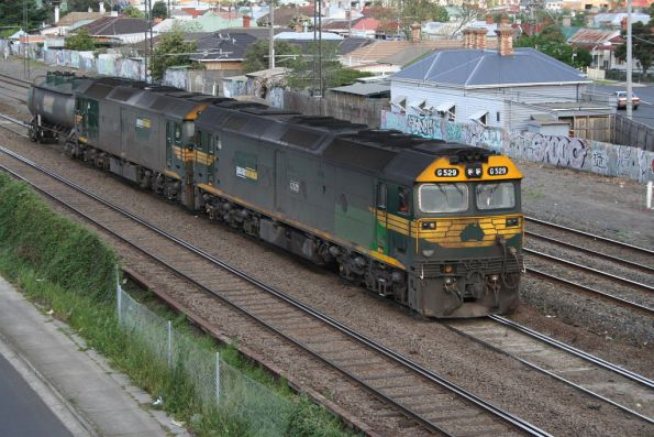 G529, G531, and VTQY inline fuelling tanker at Middle Footscray bound for the SCT Altona depot