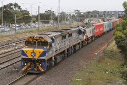 VL361, VL353 and CSR003 lead the up Dooen freight through Laverton