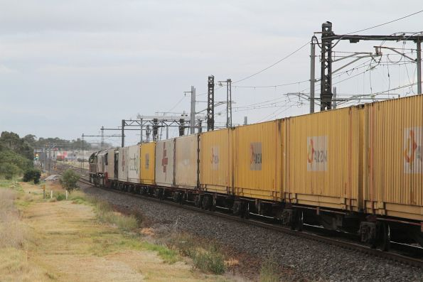 Lots of Aurizon containers on a northbound MB9 service at Altona Junction
